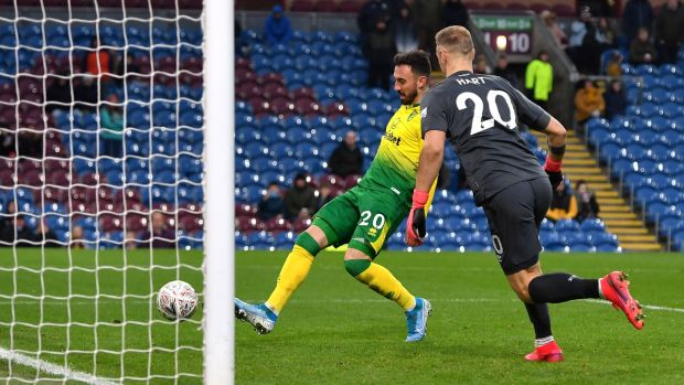 Norwich City's Josip Drmic scores his side's second against Burnley. Photograph: Anthony Devlin/PA