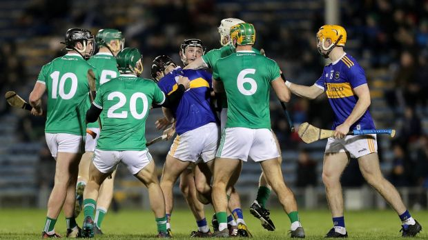 Tempers flare during Limerick's Allianz League win over Tipp. Photograph: Laszlo Geczo/Inpho