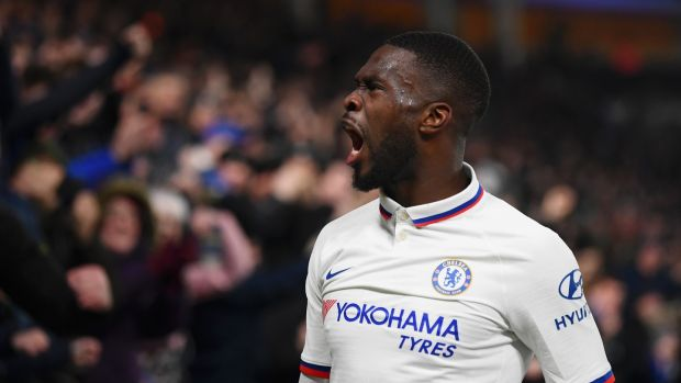 Fikayo Tomori celebrates scoring Chelsea's second against Hull. Photograph: Clive Mason/Getty