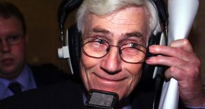Seamus Mallon giving a radio interview at  Parliament Buildings, Stormont,   Belfast, in November 1999. File photograph:  Adrian Dennis/AFP/Getty