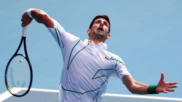 Novak Djokovic beat Diego Schwartzman in straight sets in Melbourne. Photograph: Roman Pilipey/EPA