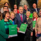 Fianna Fáil leader Micheál Martin and  candidates at the launch of the party's  general election manifesto at Smock Alley Theatre, Dublin.  Photograph: Gareth Chaney/Collins