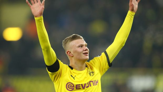 Erling Haaland has scored five goals in two Borussia Dortmund appearances. Photograph: Dean Mouhtaropoulos/Getty