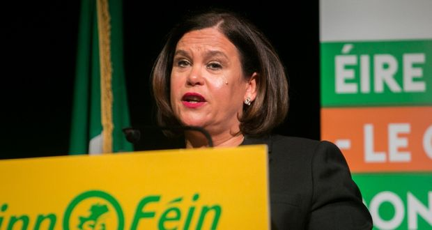 Sinn Féin leader Mary Lou McDonald speaks at Sinn Féin's general election candidate launch in the Mansion House, Dublin, earlier this week. Photograph: Gareth Chaney/Collins