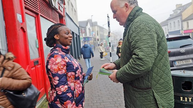 Longford resident Brenda Ghanskh chats to election candidate Joe Flaherty on his canvass trail on Thursday morning. Photograph: Lorraine Teevan