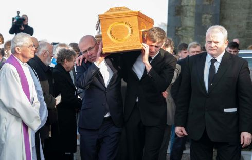 FUNERAL: The remains of Cameron Blair are removed from St Mary's Church, Bandon. Photograph: Michael Mac Sweeney/Provision