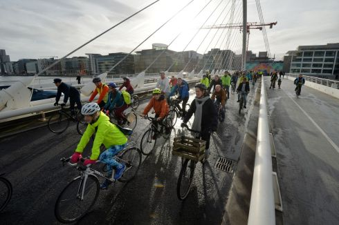 ON YOUR BIKE: About 250 members of the Dublin Cycling Campaign conduct a rolling protest along Dublin's Liffey Quays to highlight ongoing delays in developing  proposed Liffey Cycle Route. The group  is calling for the immediate implementation of temporary measures to trial a segregated cycle route along the Liffey Quays. Photograph: Alan Betson/The Irish Times