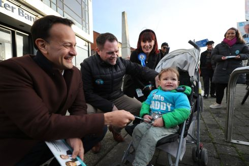 CANVASS: Taoiseach Leo Varadkar TD canvassing in Dundrum with party colleagues, Neale Richmond, Josepha Madigan and 2-year-old Luke Richmond. Photograph: Nick Bradshaw/The Irish Times
