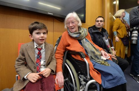 BIRTHDAY: Author Jennifer Johnston celebrated her 90th Birthday at the Lexicon Library and opening of an Exhibition of her work with her grandson Attikos Lemos Smyth (left) and Sam Daniels (right). Photograph: Alan Betson/The Irish Times