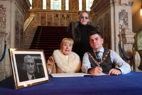 CONDOLENCES: Nobel Peace Prize winner Betty Williams and the Lord Mayor of Belfast Daniel Baker sign a book of condolence which has opened in Belfast after the death of former deputy first minister Seamus Mallon. Photograph: Presseye/PA Wire