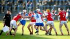 Tempers rise during the Waterford versus Cork Division 1A clash at Walsh Park, Waterford. Photograph: James Crombie/Inpho