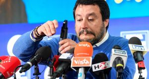 Leader of Italy's far-right League party Matteo Salvini in Bologna on Monday. He said he was happy to have run a competitive campaign in a region that has voted for the left since the end of the second World War. Photograph: Flavio Lo Scalzo/Reuters