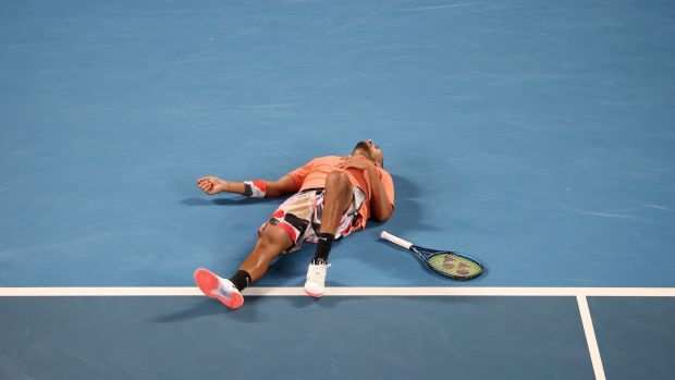 Nick Kyrgios reacts during his four set defeat to Rafael Nadal in Melbourne. Photograph: David Gray/Getty/AFP