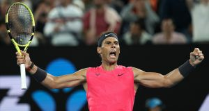 Rafael Nadal celebrates his Australian Open win over nick Kyrgios. Photgraph: Clive Brunskill/Getty