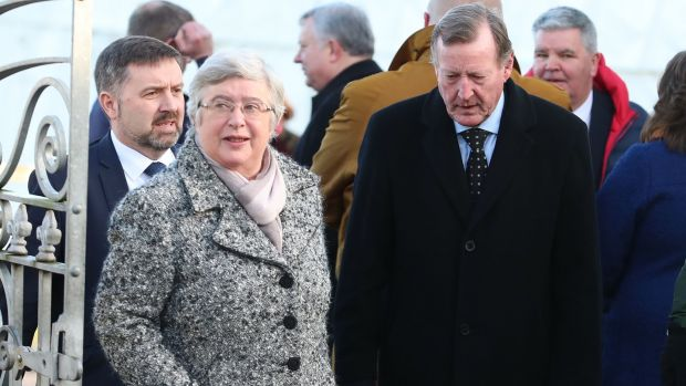 Former Stormont first minister David Trimble and his wife Daphne attend the funeral of Seamus Mallon. Photograph: Liam McBurney/PA Wire
