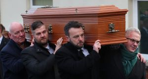 MALLON:  From left to right; Mark Durkan, Colin McGrath, Collum Eastwood and Alex Attwood carry the coffin of Seamus Mallon, the former deputy first minister of Northern Ireland, at his funeral at Saint James of Jerusalem Church in Mullaghbrack, Co Armagh. Photograph: Liam McBurney/PA Wire