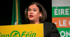 Sinn Féin leader Mary Lou McDonald   will outline the party manifesto on Tuesday. Photograph: Gareth Chaney/Collins