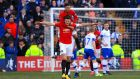 Manchester United's Harry Maguire celebrates scoring his side's first goal of the game during the FA Cup fourth round win at Tranmere. Photo: Simon Cooper/PA Wire
