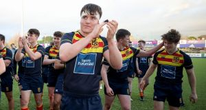 Temple Carrig players celebrates after  beating St Andrew's College in the first round of the Vinnie Murray Cup earlier this month at  Energia Park, Donnybrook. Photograph: Bryan Keane/Inpho