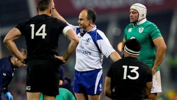 Jaco Peyper shows Malakai Fekitoa of New Zealand a yellow card during their match against Ireland in 2016. Photo: James Crombie/Inpho