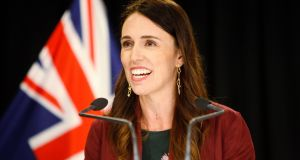 New Zealand prime minister Jacinda Ardern talks to reporters at Parliament in Wellington, New Zealand. Photograph: Nick Perry/AP photo