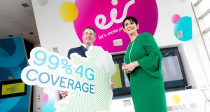 Fergal McCann, director of mobile networks at Eir and Carolan Lennon, chief executive. The telecommunications company will use Huawei to supply the radio access equipment for its 5G network