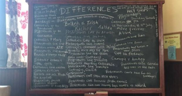 The blackboard from Derry Girls showing the differences between Protestants and Catholics. Photograph: Dylan Llewellyn/Twitter.