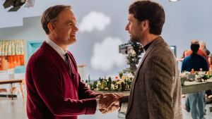 Mister Rogers (Tom Hanks) meets journalist Lloyd Vogel (Matthew Rhys) in TriStar Pictures' A Beautiful Day in the Neighborhood