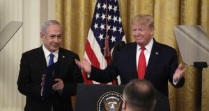 US president Donald Trump at a press conference with Israeli prime minister Binyamin Netanyahu in the White House on Tuesday. Photograph: Andrew Harrer/Blooomberg