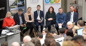 Minister of State Mary Mitchell O'Connor, TD Fine Gael, Deputy Thomas Byrne (FF) Senator Ivana Bacik (Labour), Deputy Donnchadh O'Laoghaire (SF) Cllr Neasa Hourigan, (GP) Deputy  Richard Boyd Barrett (PBP)and Aengus O'Maolain, (Social Democrats), at the election debate on the future funding of higher education and research in Ireland  at the TCD Business School, in Dublin. Photograph: Dara Mac Dónaill / The Irish Times