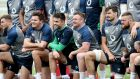 Jacob Stockdale, Conor Murray, Dave Kilcoyne, Max Deegan and Andrew Porter at Ireland Rugby squad training in Faro, Portugal, on Tuesday. Photograph: Dan Sheridan/Inpho