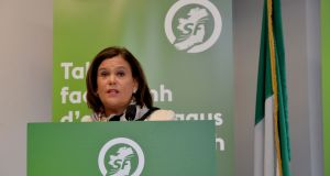 Sinn Féin president Mary Lou McDonald launching her party's General Election 2020 Manifesto in the Temple Bar Gallery and Studios. Photograph: Alan Betson