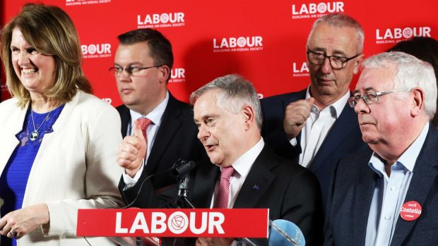 Labour Party leader Brendan Howlin flanked by Joan Burton and Joe Costello at the party's manifesto launch in Dublin. Photograph: Leah Farrell