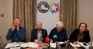Richard Boyd Barrett (left), Paul Murphy (second left), Brid Smith and Ruth Coppinger (right) during Solidarity People Before Profit's launch of their General Election Environment Policy at Buswells Hotel in Dublin. Photograph: Brian Lawless/PA Wire