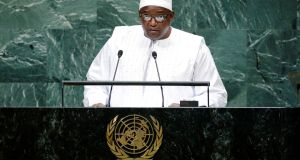 Gambia's president Adama Barrow addresses the 73rd session of the United Nations General Assembly at UN headquarters in New York in Spetmeber 2018.Photograph: File/ Eduardo Munoz/Reuters