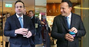 Spot the difference: Leo Varadkar out canvassing in Galway. Photographs: Joe O'Shaughnessy