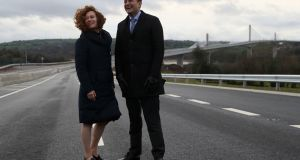 BUILD BRIDGES: Taoiseach Leo Varadkar and Rose Katherine Kennedy Townsend at the opening of the State's longest bridge, in New Ross, Co Wexford. Photograph: Brian Lawless/PA Wire