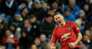 Nemanja Matic celebrates scoring for  Manchester United in the Carabao Cup semi-final second leg   at the Etihad stadium. Photograph: Peter Powell/EPA