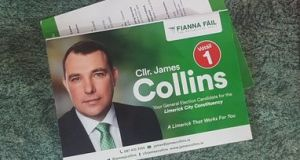 Homes in Co Clare have received pleas in the post to vote for Fianna Fáil's councillor James Collins – who is standing in Limerick