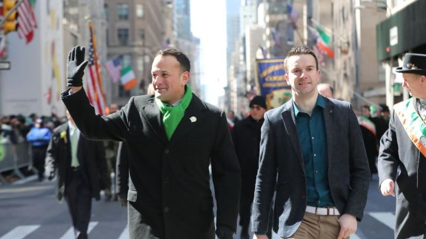 Taoiseach Leo Varadkar with his partner Matt Barrett in the St Patrick's Day parade in New York in 2018. File photograph: Niall Carson/PA Wire