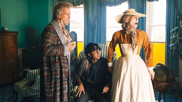 Hugh Laurie, Dev Patel and Tilda Swinton in The Personal History of David Copperfield