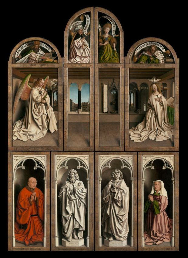 Outer panels of the closed Ghent Altarpiece by Van Eyck, 1432, Saint Bavo's Cathedral, Ghent