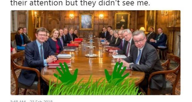In one of its earliest tweets in February 2018, the Border showed itself sneaking into Chequers for the Conservatives' crunch Brexit talks. Image: @BorderIrish/Twitter