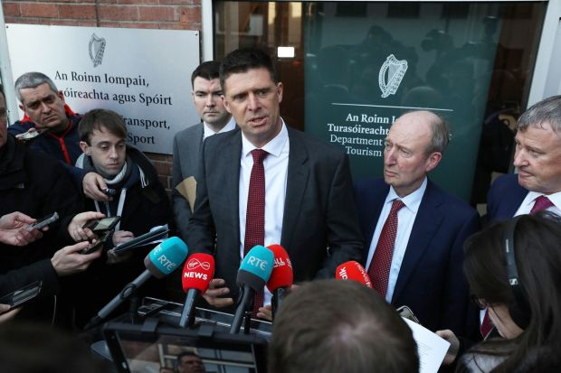 FAI interim deputy chief executive Niall Quinn (centre) speaks to the media alongside Minster for Sport Shane Ross on Thursday. Photograph: Nick Bradshaw/The Irish Times