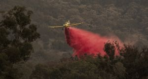 Aircraft dumps fire retardant behind houses at the foot of Mount Tennant as the Orroral Valley fire creeps through the Namadgi National Park in Canberra, Australia. Photograph: Brook Mitchell/Getty Images.