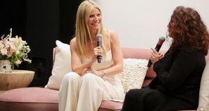 Gwyneth Paltrow (L) and Michaela Boehm speak onstage during the goop lab Special Screening in Los Angeles, California. Photograph: Rachel Murray/Getty Images
