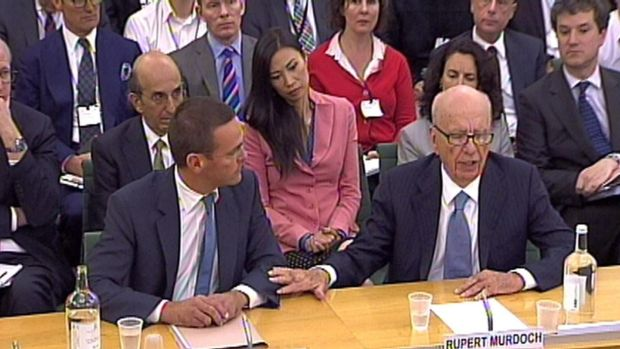 James Murdoch (L) and Rupert Murdoch giving evidence to the Culture, Media and Sport Select Committee in the House of Commons in central London in 2011. Photograph: PA Wire