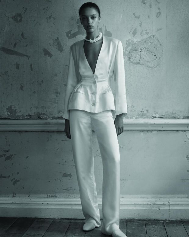 Pleated waist silk charmeuse jacket €588 and trousers €520 by Albus Lumen at matches.com