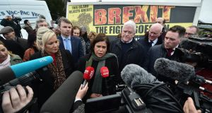 Sinn Féin's Michelle O'Neill and Mary Lou McDonald at the launch of an anti-Brexit billboard on Friday in Carrickcarnon. Photograph: Getty