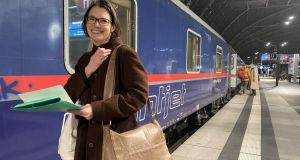 Julie Dawson in Berlin boarding  the Nightjet sleeper train to Vienna. Photograph: Derek Scally